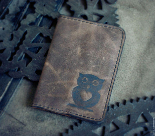 Обложки ручной работы. Ярмарка Мастеров - ручная работа. Купить Обложка для паспорта Совушка. Handmade. Коричневый, обложка на паспорт