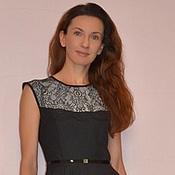 Одежда ручной работы. Ярмарка Мастеров - ручная работа Платье черное с кружевом и юбкой солнце. Handmade.