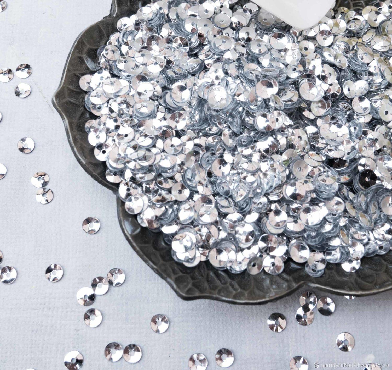Пайетки Италия 4мм чаша Серебро 1111, Вышивка, Краснодар, Фото №1