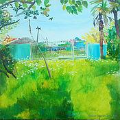 Картины и панно ручной работы. Ярмарка Мастеров - ручная работа Картина. Абхазия. Некошеный двор. Handmade.