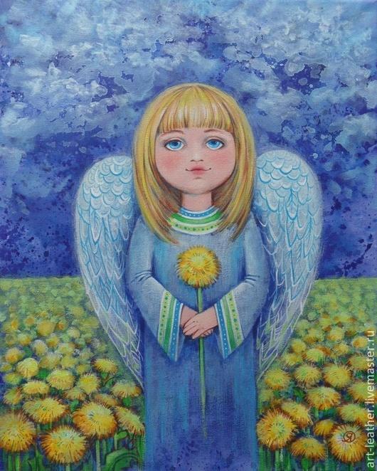 Фантазийные сюжеты ручной работы. Ярмарка Мастеров - ручная работа. Купить Ангел - хранитель дневной. Handmade. Ангел, одуванчики, цветы