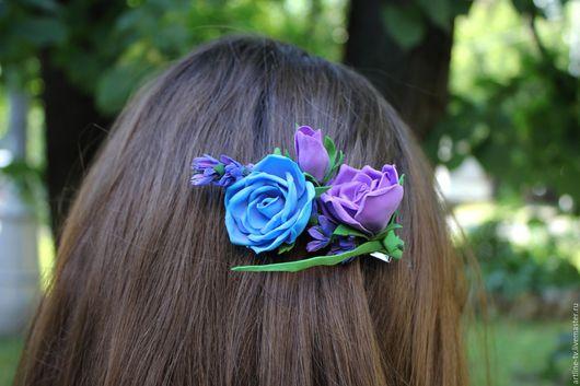 Заколки ручной работы. Ярмарка Мастеров - ручная работа. Купить Зажим для волос  из фоамирана. Handmade. Украшение, цветок, украшение для девушки