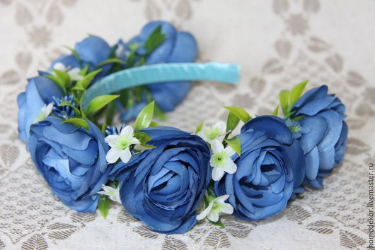 Диадемы, обручи ручной работы. Ярмарка Мастеров - ручная работа. Купить Ободок для волос с цветами (Синева). Handmade. Синий, свадьба