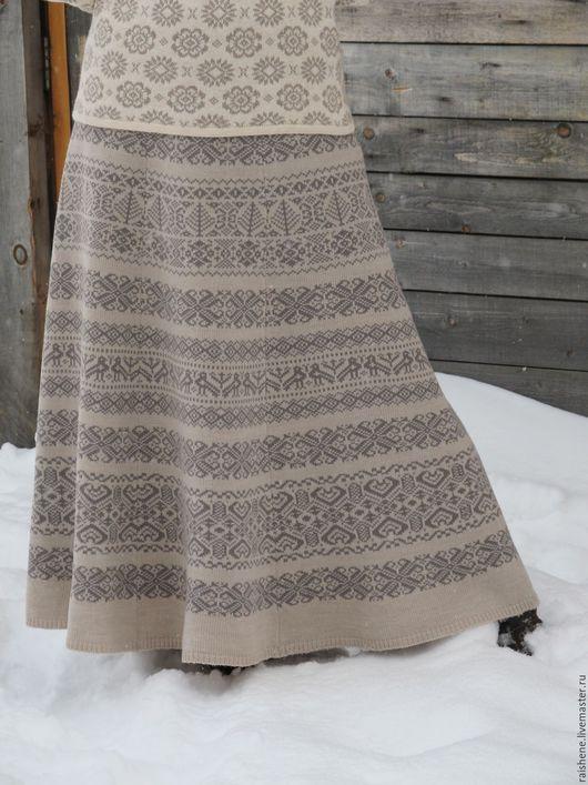 Костюмы ручной работы. Ярмарка Мастеров - ручная работа. Купить юбка вязаная жаккардовая. Handmade. Серый, этно стиль