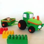 handmade. Livemaster - original item Knitted tractor Soft toy tractor tractor with trolley. Handmade.