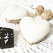 Косметика ручной работы. Ярмарка Мастеров - ручная работа Шоколадно-кокосовые сердечки (Бомбочка для ванны). Handmade.