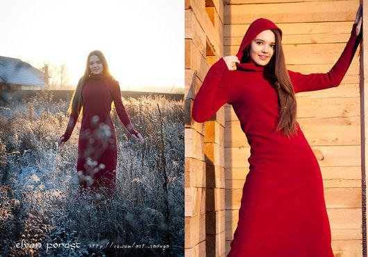 Платья ручной работы. Ярмарка Мастеров - ручная работа. Купить Брусничное  флисовое платье. Handmade. Бордовый, эльфийское платье