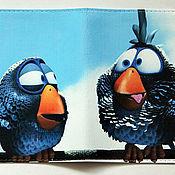 """Канцелярские товары ручной работы. Ярмарка Мастеров - ручная работа обложка  """"Птички"""" (кожа). Handmade."""