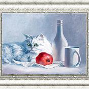 Картины и панно ручной работы. Ярмарка Мастеров - ручная работа кошка с гранатой. Handmade.