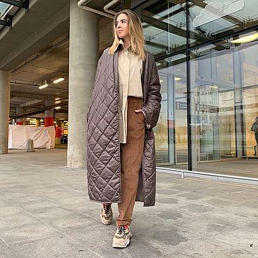 Одежда ручной работы. Ярмарка Мастеров - ручная работа Пальто зимнее утеплённое в стиле кимоно. Handmade.