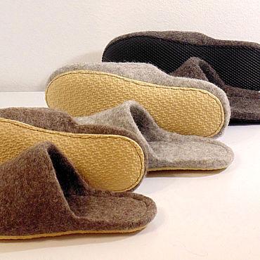 Footwear handmade. Livemaster - original item Felt Slippers without heel.. Handmade.