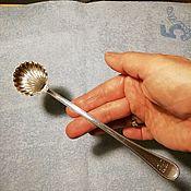 Столовые приборы винтажные ручной работы. Ярмарка Мастеров - ручная работа 41гр Ложка серебро 800, в форме ракушки, для сервировки Италия. Handmade.