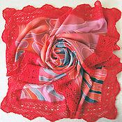 """Аксессуары ручной работы. Ярмарка Мастеров - ручная работа Батик платок """"Тёплый алый"""". Платок ручной работы. Handmade."""