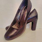 Винтаж ручной работы. Ярмарка Мастеров - ручная работа Туфельки черные кожаные с оригинально формленным каблуком 36 размер. Handmade.