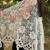 Аксессуары handmade. Livemaster - original item Crochet shawl Inhaling the aromas of roses milky. Handmade.