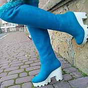 Обувь ручной работы. Ярмарка Мастеров - ручная работа Эко ботфорты из шерсти Бирюза. Handmade.