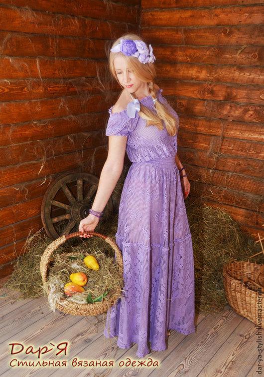 """Платья ручной работы. Ярмарка Мастеров - ручная работа. Купить """"Лавендель""""платье , связанное в технике филейного кружева. Handmade. Платье, лаванда"""