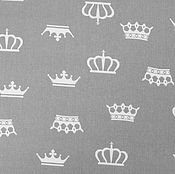 Материалы для творчества ручной работы. Ярмарка Мастеров - ручная работа Ткань Хлопок Короны на сером. Handmade.