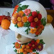 Аксессуары handmade. Livemaster - original item Mittens and hat with embroidered