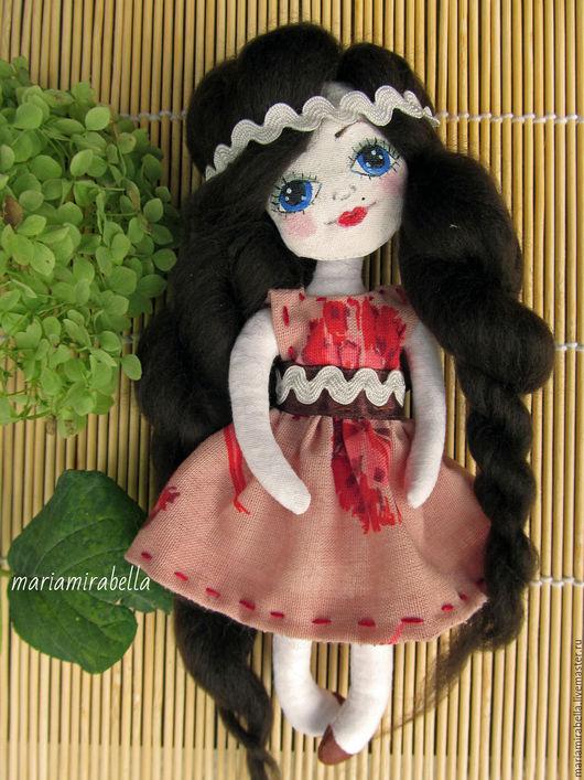 Человечки ручной работы. Ярмарка Мастеров - ручная работа. Купить куколка Амели. Handmade. Ярко-красный, кукла амели, хлопок
