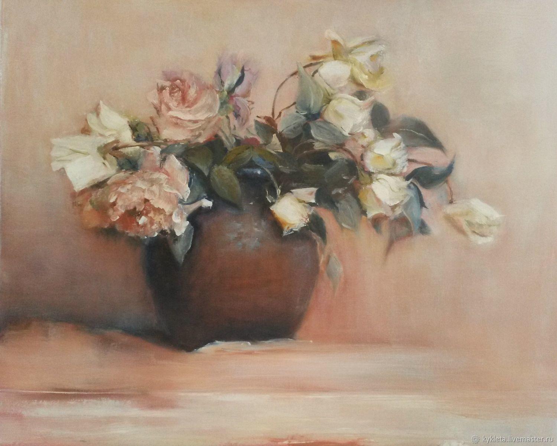 Картины цветов ручной работы. Ярмарка Мастеров - ручная работа. Купить Картина масло холст 40х50 Розы. Handmade. Цветы