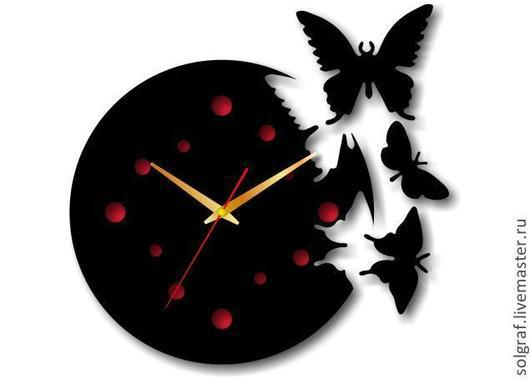 """Часы для дома ручной работы. Ярмарка Мастеров - ручная работа. Купить Часы """"Порхающие бабочки"""" с циферблатом. Handmade. Часы бабочки"""