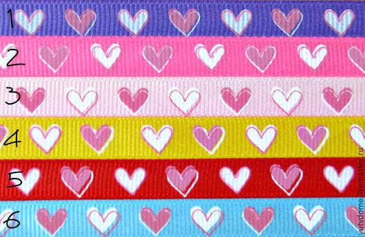"""Шитье ручной работы. Ярмарка Мастеров - ручная работа. Купить 0276 Репсовая лента """"Сердечки"""" 9 мм. Handmade."""