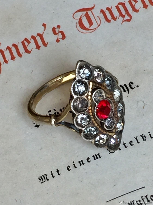 Винтаж: Антикварное старинное кольцо Маркиза. 875проба с позолотой. 1953 г, Кольца винтажные, Париж,  Фото №1