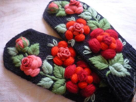 """Варежки, митенки, перчатки ручной работы. Ярмарка Мастеров - ручная работа. Купить Варежки с вышивкой """"Красная роза"""". Handmade."""