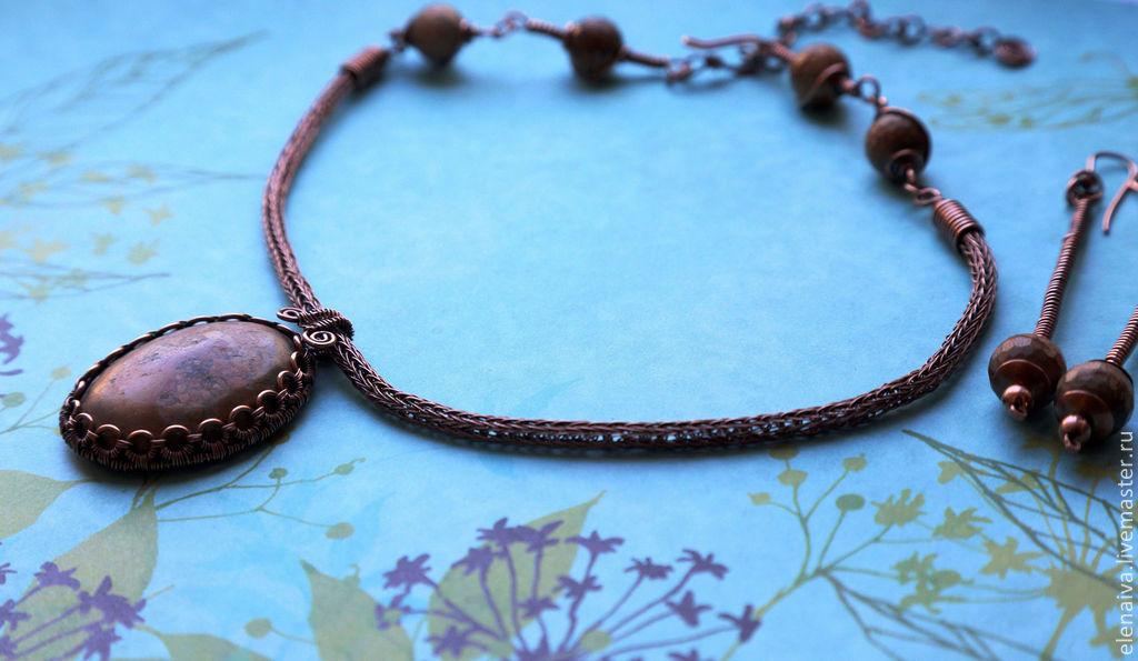 Necklace with Jasper, copper, braiding, Viking Knit – shop online on ...