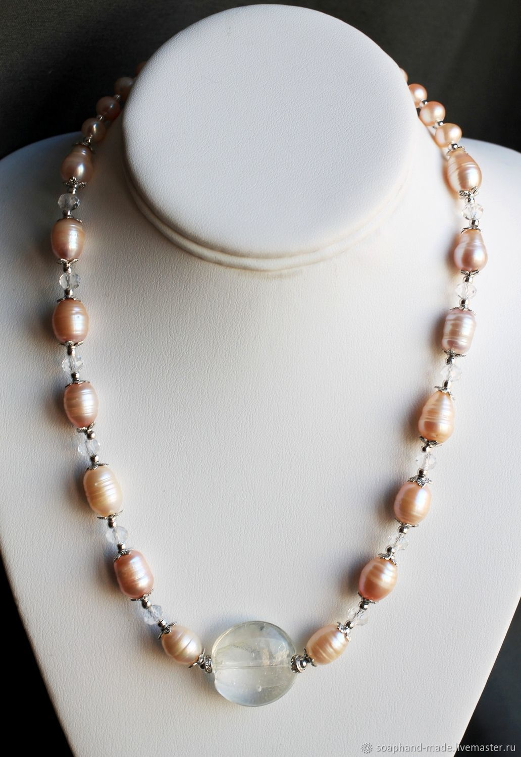 'Air' necklace of peach Baroque pearls, Necklace, Moscow,  Фото №1
