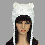 Аксессуары handmade. Livemaster - original item Hat with Cat ears knitted fluffy white female. Handmade.