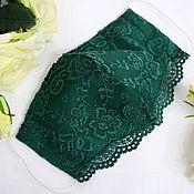 Аксессуары handmade. Livemaster - original item Lace green protective face mask Mask with lace edge. Handmade.