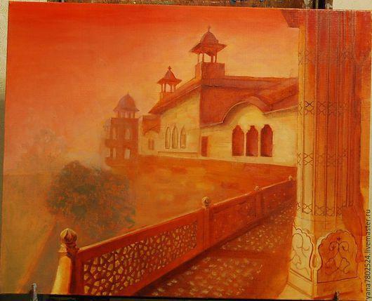 """Город ручной работы. Ярмарка Мастеров - ручная работа. Купить Картина написана маслом """"Однажды в Индии"""". Handmade. Разноцветный, художник"""