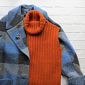 Одежда handmade. Livemaster - original item Knitted orange vest, warm vest from Alpaca. Handmade.