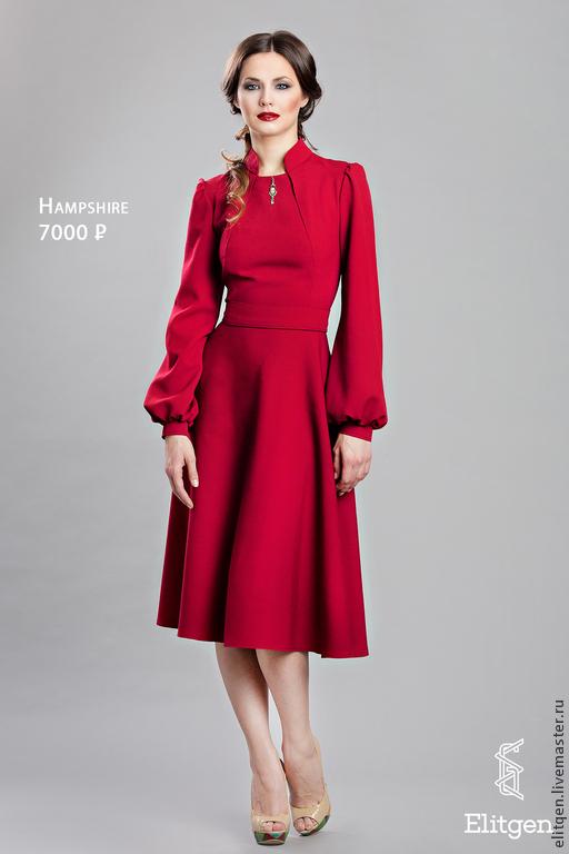 Платья ручной работы. Ярмарка Мастеров - ручная работа. Купить Платье с длинным рукавом. Handmade. Бордовый, Платье нарядное, осень