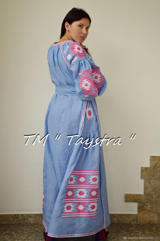 Заказать Вышитое платье макси платье вышиванка лен e0eef9caa4c04