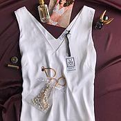 Одежда ручной работы. Ярмарка Мастеров - ручная работа Белый топ с V-образным вырезом из шелка в два слоя. Handmade.