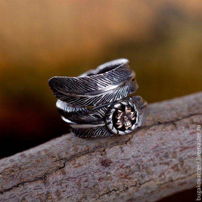 Кольцо Цветок с пером безразмерное из серебра 925 и ювелирной латуни, Кольца, Москва, Фото №1
