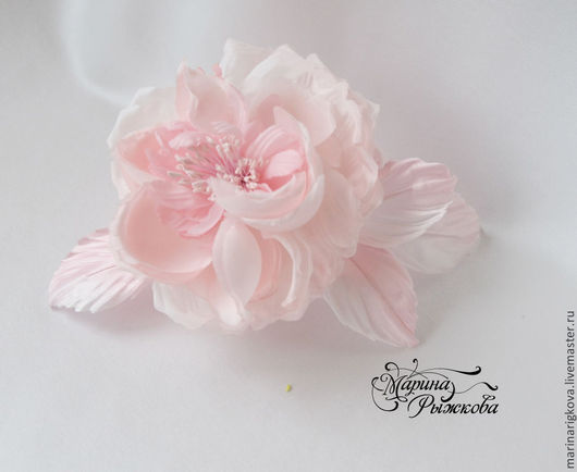 """Цветы ручной работы. Ярмарка Мастеров - ручная работа. Купить Роза """"Amely"""". Handmade. Нежно-розовый цвет, украшение на голову"""
