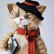 Куклы и игрушки ручной работы. Ярмарка Мастеров - ручная работа кот ПИСАТЕЛЬ 30 см Вязаный кот. Handmade.
