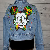 Одежда handmade. Livemaster - original item Denim jacket with a Mickey mouse pattern and multicolored hemp. Handmade.