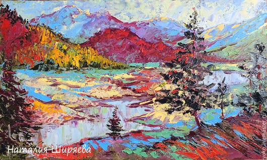"""Пейзаж ручной работы. Ярмарка Мастеров - ручная работа. Купить Картина горы """"На Высоте Над Озерами"""" пейзаж с горами маслом. Handmade."""