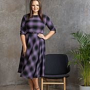Одежда handmade. Livemaster - original item Checkered violet and graphite dress. Handmade.
