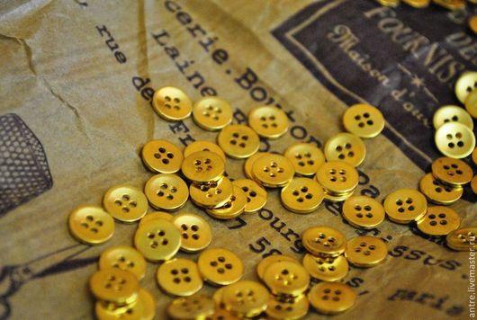 """Куклы и игрушки ручной работы. Ярмарка Мастеров - ручная работа. Купить Кукольные пуговки """"Золото"""" 9 мм.. Handmade. Пуговицы"""