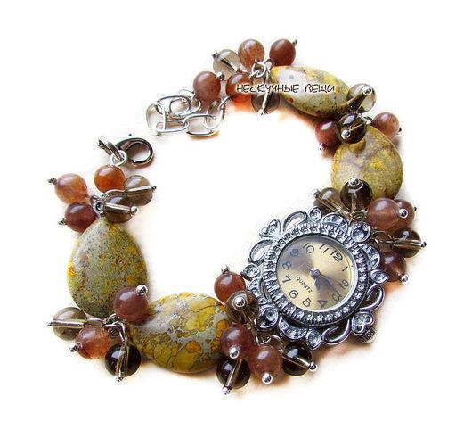 """Часы ручной работы. Ярмарка Мастеров - ручная работа. Купить """"Саванна"""" наручные часы с варисцитом. Handmade. Коричневый, женские часы"""