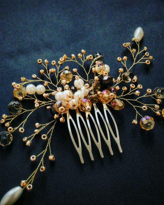 """Свадебные украшения ручной работы. Ярмарка Мастеров - ручная работа. Купить Гребень  """"золото"""". Handmade. Гребень для волос, гребень для невесты"""