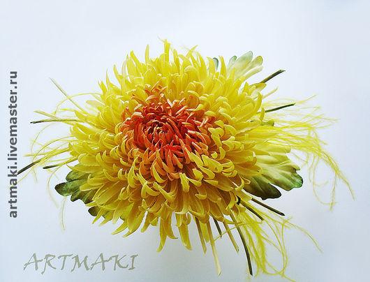"""Цветы ручной работы. Ярмарка Мастеров - ручная работа. Купить Астра """"Мирит"""". Handmade. Шелковые цветы, желтый"""