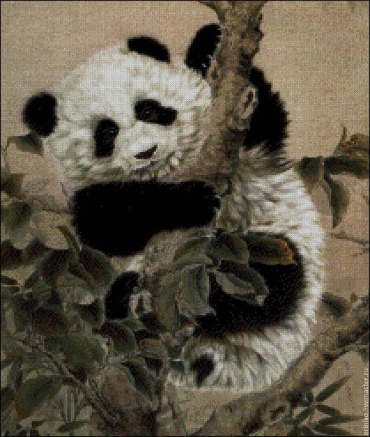 """Вышивка ручной работы. Ярмарка Мастеров - ручная работа. Купить Схема для вышивания крестиком """"Панда малыш"""". Handmade. Комбинированный, мишка"""