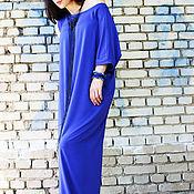 Одежда ручной работы. Ярмарка Мастеров - ручная работа Длинное платье -  синее / D0006. Handmade.
